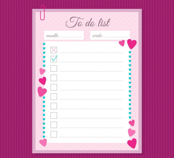 Free Checklist Template with Decorative Hearts