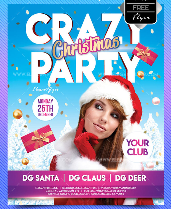 Free Christmas Crazy Party Flyer Template