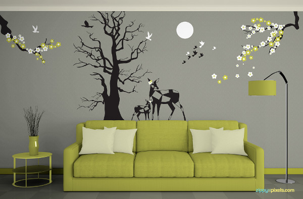 Free Wall Art Mockup in Living Room