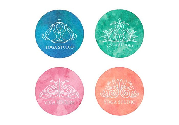 Free Yoga Logos On Watercolor Background