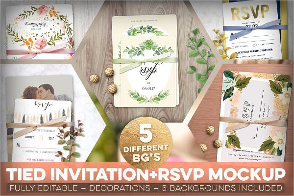 Fully Editable Tied Invitation Mockups