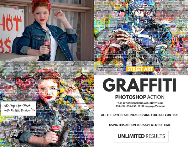Graffiti Effect with Pop Up Photoshop Action