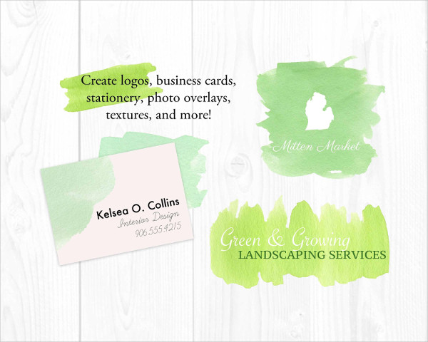 Green Grass Watercolor Textures PSD