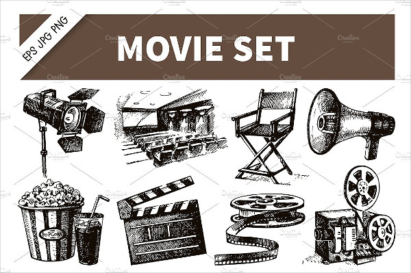 Hand Drawn Vintage Movie & Film Set