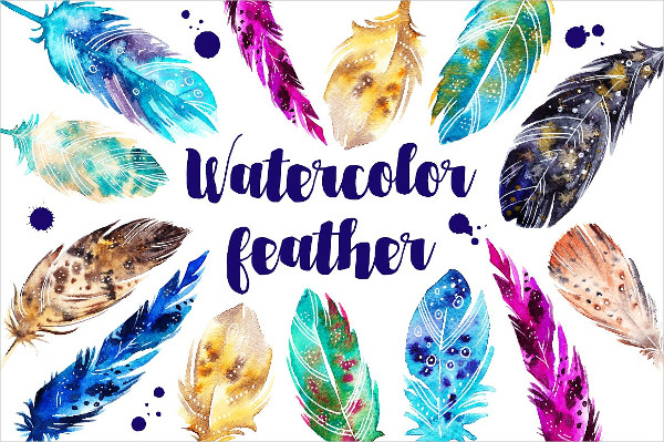 Watercolor Hand Painted Feather Patterns