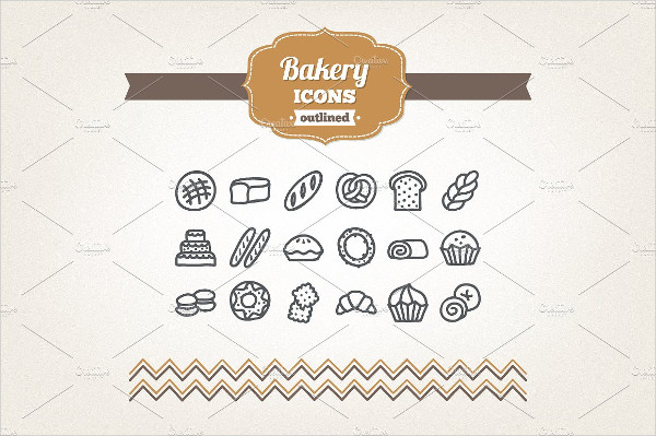 Hand Drawn Bakery Outlined Icons