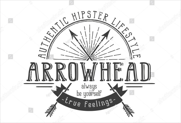 Hipster Retro Logo with Crossed Arrows