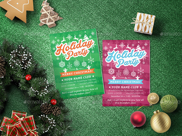 Holiday Party Invitation Flyer Template