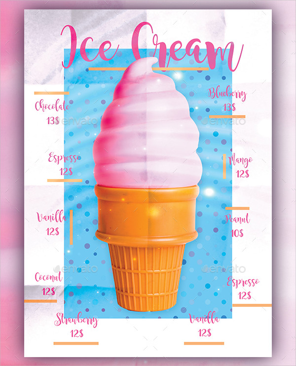 Ice Cream Menu Poster Design