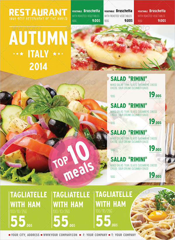 Italian Autumn Menu Posters Template