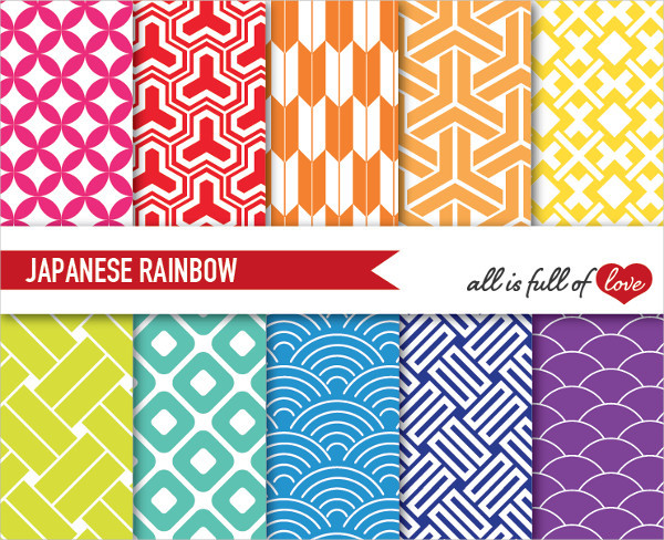 Japanese Rainbow Digital Backgrounds