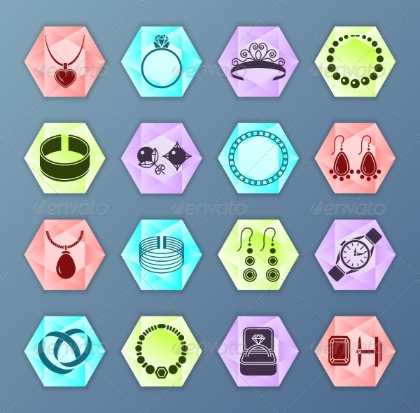 Jewelry Accessories Hexagon Icons
