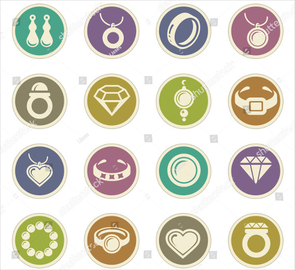 Jewelry Vector Icons for User Interface Design