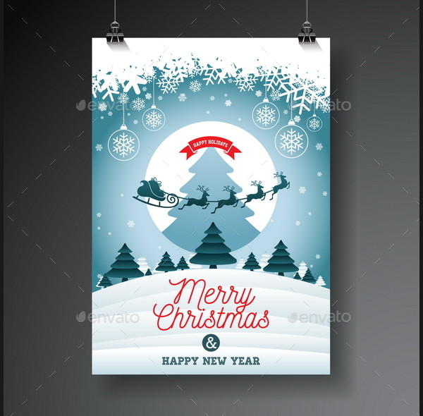 Merry Christmas Illustration with Typography & Ornament