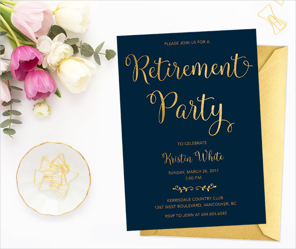 Navy Gold Retirement Party Invitation