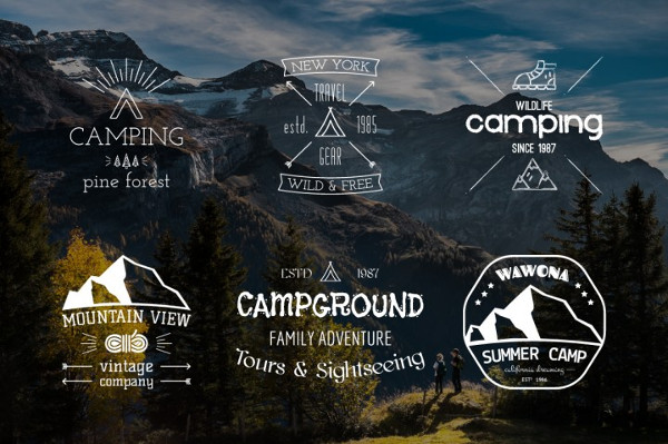 Outdoor Camping Badges and Logos