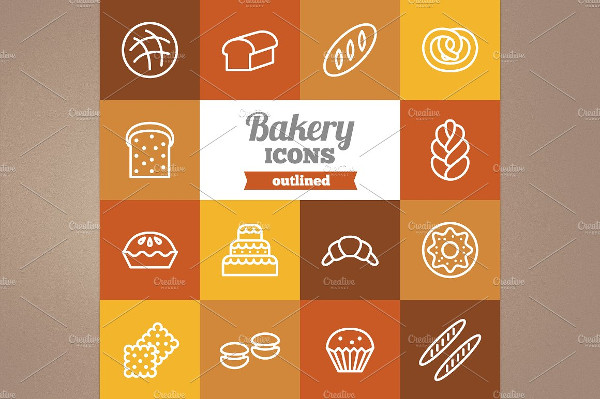 Collection of Outlined Bakery Icons