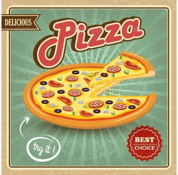 Delicious Pizza Retro Poster Template