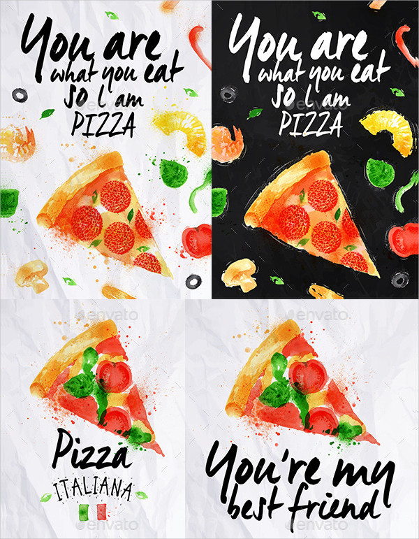 Pizza Watercolor Poster Template