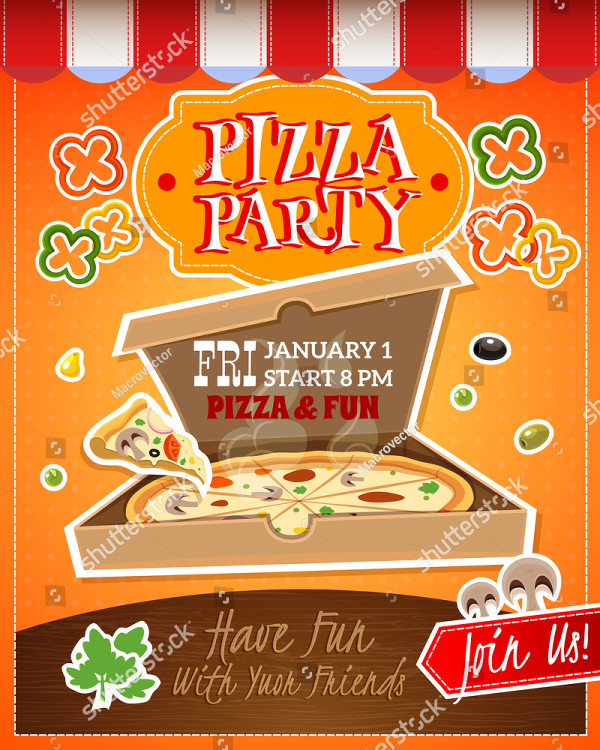 Pizza Party Cartoon Advertising Poster Template