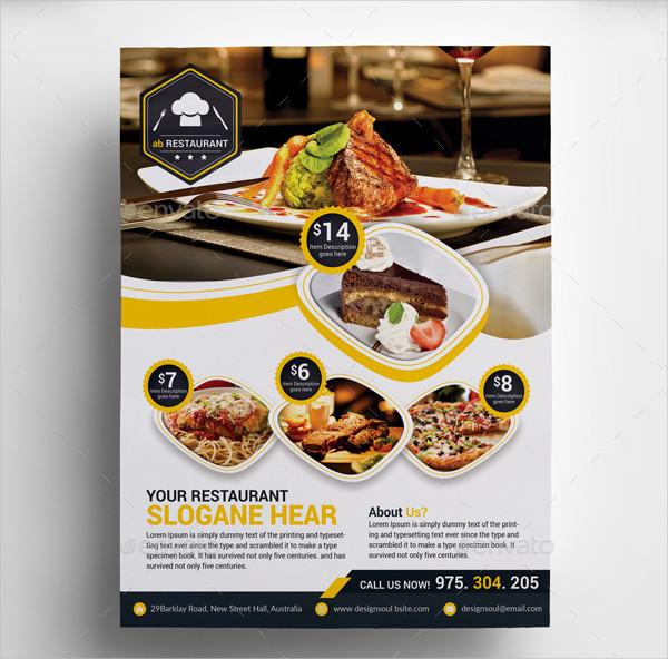 Printable Restaurant Menu Flyer Template