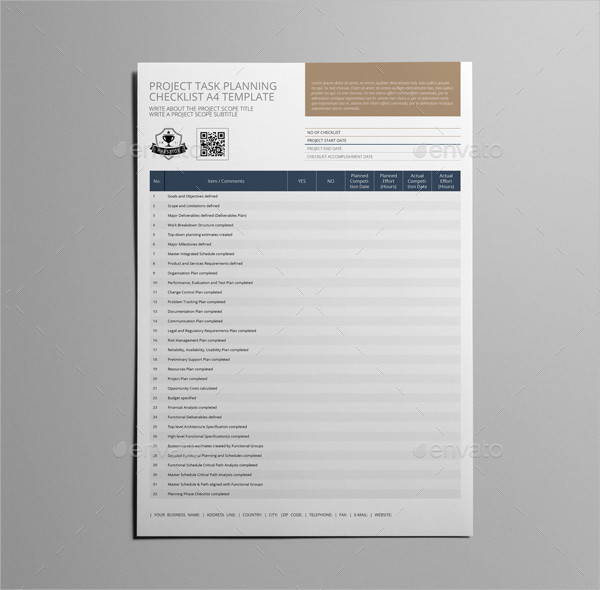 Project Task Planning Checklist Template