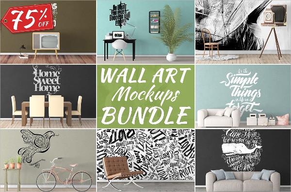 Realistic Wall Art Mockups Bundle