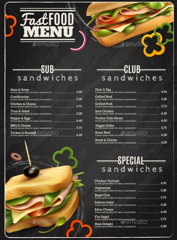 Sandwiches Menu Advertisement Poster