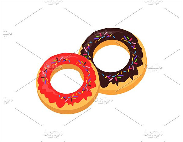 Sweet Donuts Logo Design Flat Food
