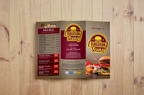 Trifold Fast Food Brochure Template