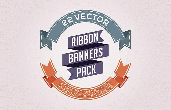 Vector Ribbon Banner Backgrounds Pack
