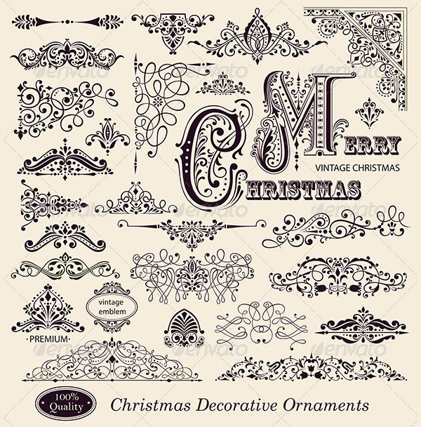 Vector Set of Vintage Christmas Ornaments Designs