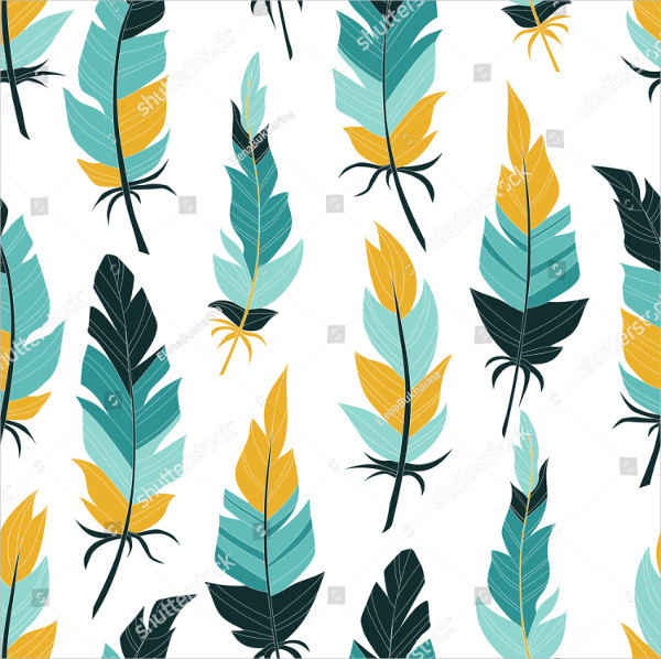 Vintage Colored Feathers Pattern
