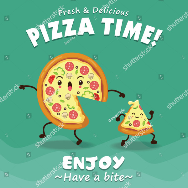 Vintage Pizza Time Poster Design