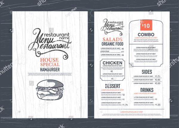 Vintage Restaurant Menu Flyer Design