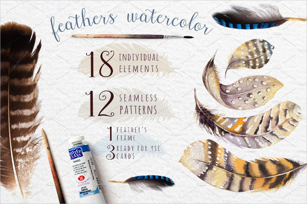 Big Watercolor Feathers Bundle