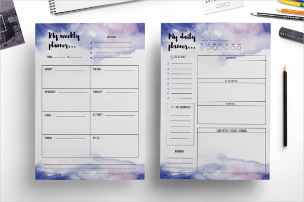 Watercolor Weekly Budget Planner Template