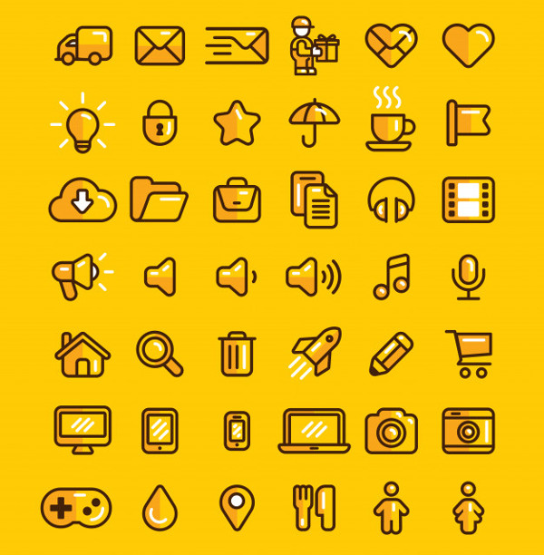 Web Icons Set Linear Flat Outline Style Icon Free