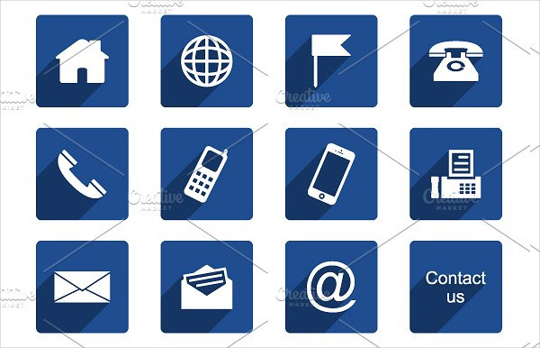 12 Contact Icons Long Shadow