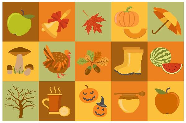 15 Objects Autumn Icon Set