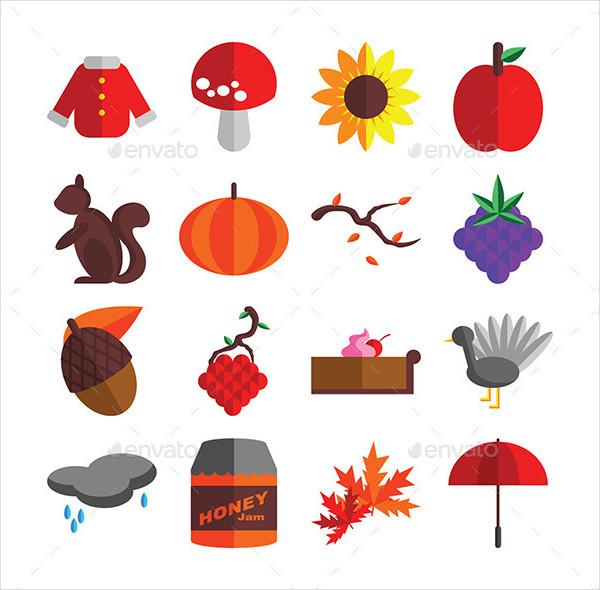 16 Autumn Season Icons Set