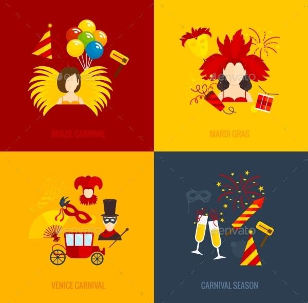 4 Flat Icons of Carnival Season
