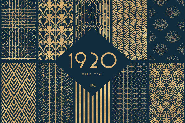 40 Art Deco Seamless Patterns Collection