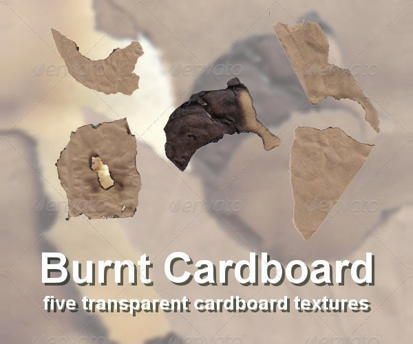 5 Burnt Cardboard Texture Set