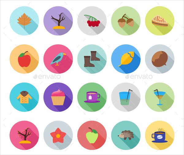 50 Autumn Flat Shadowed Icons