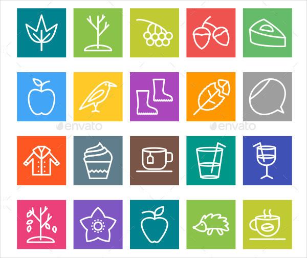 50 Autumn Line Multicolor Icons