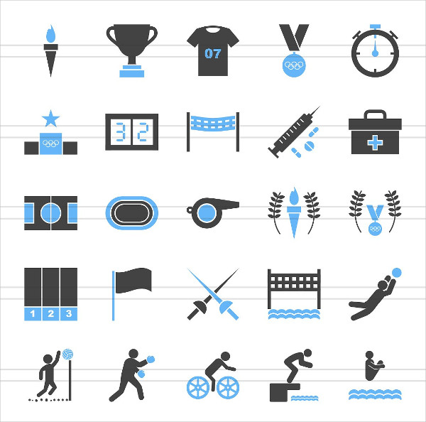 50 Olympics Blue & Black Icons