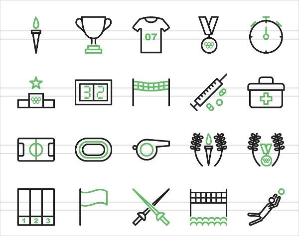 50 Olympics Line Green & Black Icons