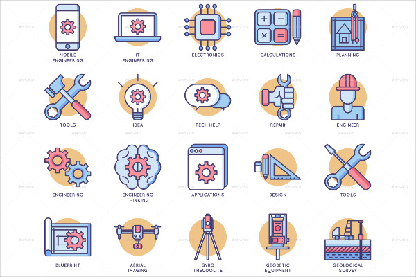 70 Beautifully Crafted Engineering Icon Set