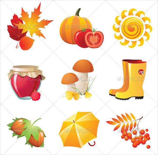 9 Bright Autumn Design Icons Vector